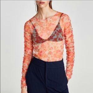 Zara Women's Floral Mesh Blouse